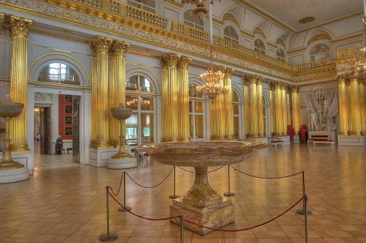 Armorial Hall (Gerbovy Zal, Emblem Hall) in Hermitage Museum. Saint Petersburg, Russia, June 10, 2009