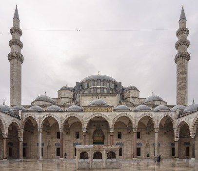 Cour de la mosquée Süleymaniye, Istanbul, Turquie.