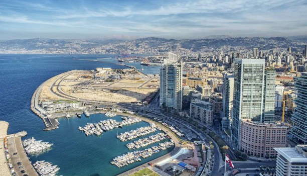 Aerial View of Beirut Lebanon, City of Beirut