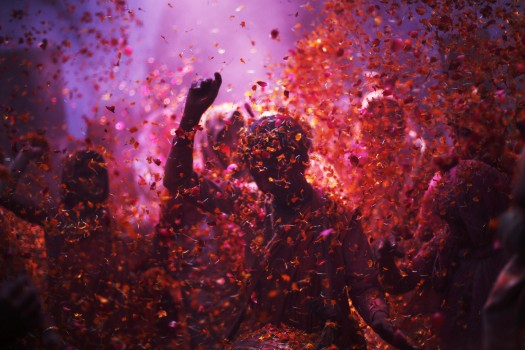 Widows daubed in colours dance as they take part in the Holi celebrations at Vrindavan